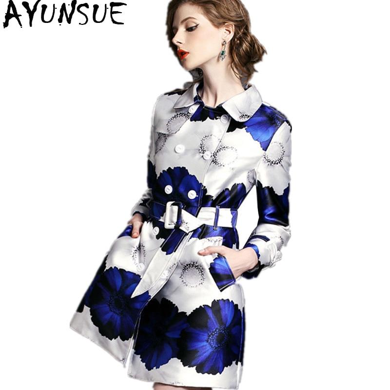 AYUNSUE Women Clothing 2019 Spring Autumn   Trench   Coat Female Fashion Floral Printed Windbreaker Outwear manteau femme WYQ1060