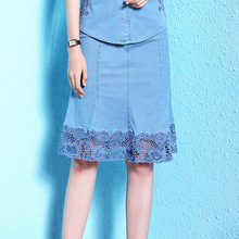 Nordic winds womens skirts 2018 summer new plus size denim skirt thin lace cowboy NW18B2616