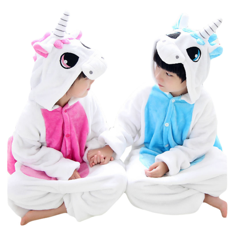 Unicorn Stitch Unisex Flannel Hoodie Cosplay Unicorn Pajamas Animal Onesie Kids Sleepwear Cartoon Full Set Red or Blue Color