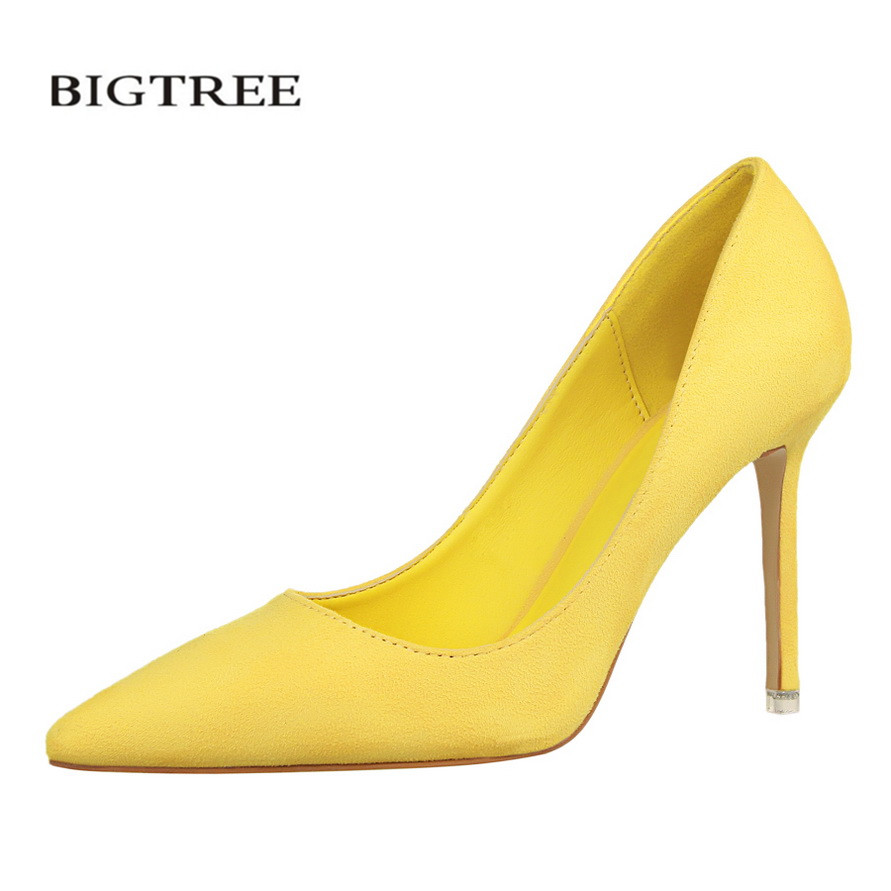 BIGTREE Spring Women Pumps High Heels Shoes Suede Fashion Flock Sexy high-heeled Slim Pointed OL Female Office Shoes 34 G516-1 new spring pumps fashion sexy slim thin high heels suede belt buckle shallow pointed high heeled shoes elegant stiletto g2586 35