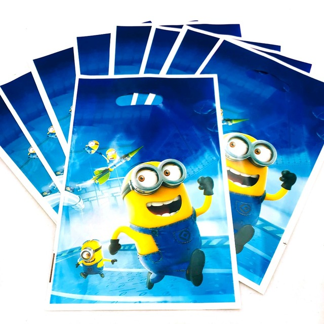 10pcs Minions Gift Bag 1st Birthday Boy Party Decoration Loot Ideas Girl Minion Baby Shower Themed
