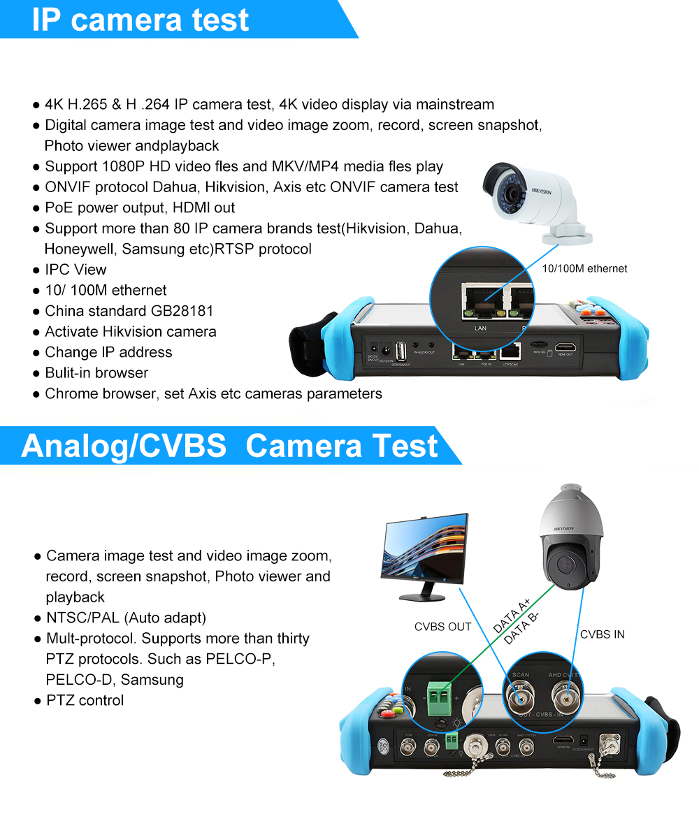 US $514 14  Anpviz 7 Inch 4K H 265 IP/CVBS/CVI/TVI/AHD 5 in 1 CCTV IP  Camera Tester Monitor 5MP Analog Camera Testing PTZ UTP Cable Tester-in  CCTV