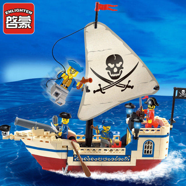 Enlighten 188Pcs Pirates Of Caribbean Bricks Bounty Pirate Ship Compatible LegoINGLY City Building Blocks Sets Toys for Children 1