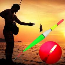 Luminous Float Fishing Cork Plastic Floater LED Light Flashing Buoy Vertical Fishing Float