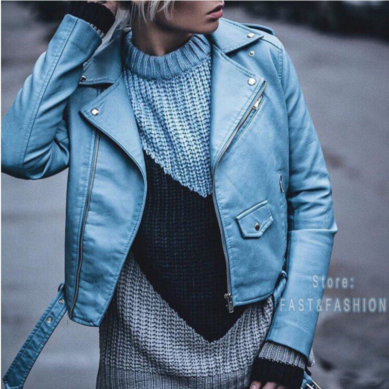 2018 New Fashion Women Autunm Winter Wine Red Faux Leather Jackets