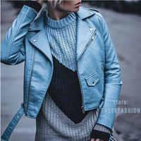 2020 nouvelle mode femmes Autunm hiver noir Faux cuir vestes dame Bomber moto Cool manteau d'extérieur avec ceinture offre spéciale