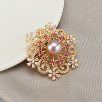 Luxury Rhinestone Flower Brooches Women Natural Pearl Brooch Crystal Lapel Pins Jewelry for Female Wedding Scarf Accessories