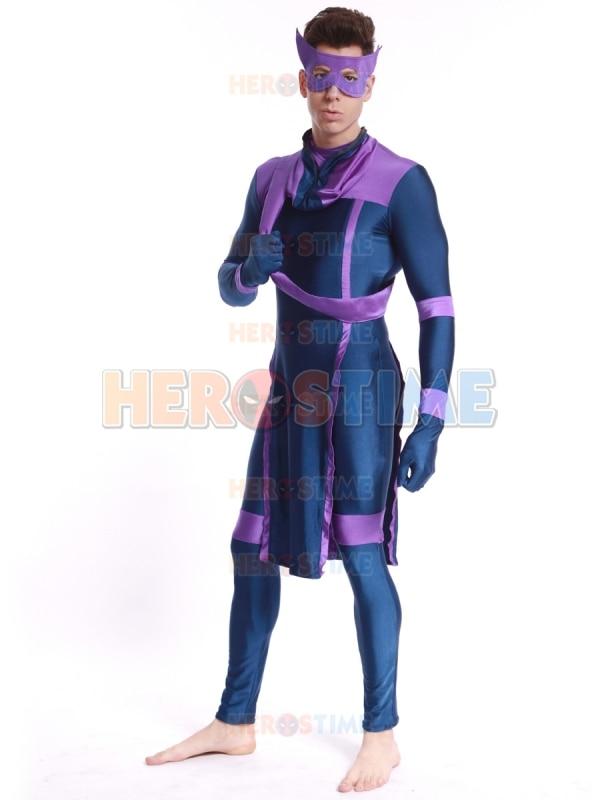 Avengers kostým Fialový a modrý Hawkeye Clinton Francis Barton Superhero kostým Spandex fullbody Zentai oblek pro dospělé / děti