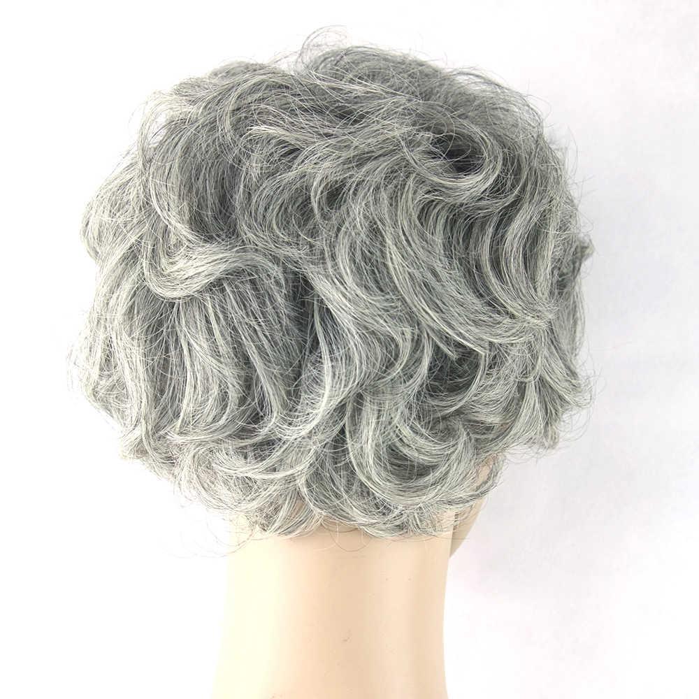 Soowee Grijs Haar Pruik Zwart Mix Wit Synthetisch Haar Kort Krullend Grijs Aged Stijl Cosplay Pruiken voor Mannen en Vrouwen