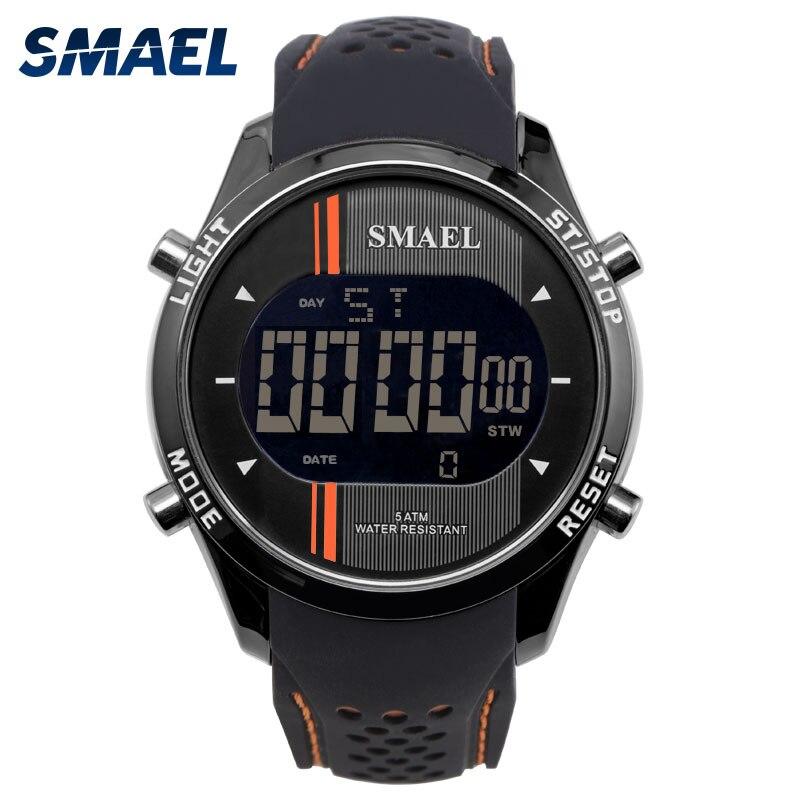SMAEL LED Numérique Montres Homme Quartz Sport Montres Noir Smart Horloges De Mode Cool Hommes Électronique Montre De Luxe Célèbre 1283