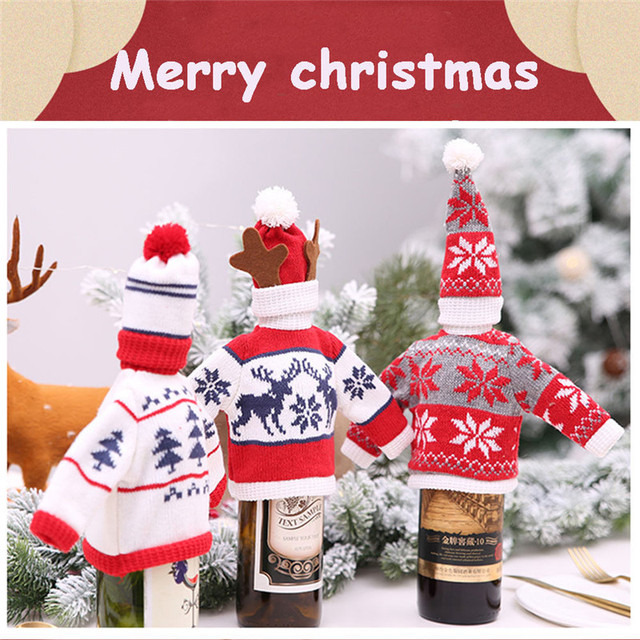 Fashion Christmas Wine Bottle Cover Xmas Family Dinner Party Decorations Santa Covers