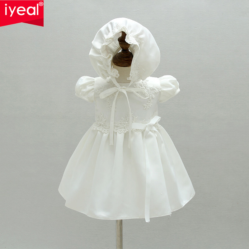 IYEAL Baby Girl Birthday Outfits Infant Party Dresses With hat For Baptism 2018 Newborn Christening Gown Toddler Girls Clothes