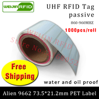 UHF RFID tag sticker Alien9662 EPC6C printable PET label 915m860 960MHZ Higgs3 1000pcs free shipping adhesive passive RFID label