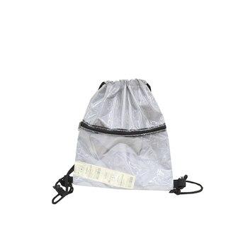 f2a8210437fba Reflexivo transparente Nylon bolsa con cordón con el bolsillo plástico  pequeña mochila tamaño de viaje Bolsos de lazo 50Z0094
