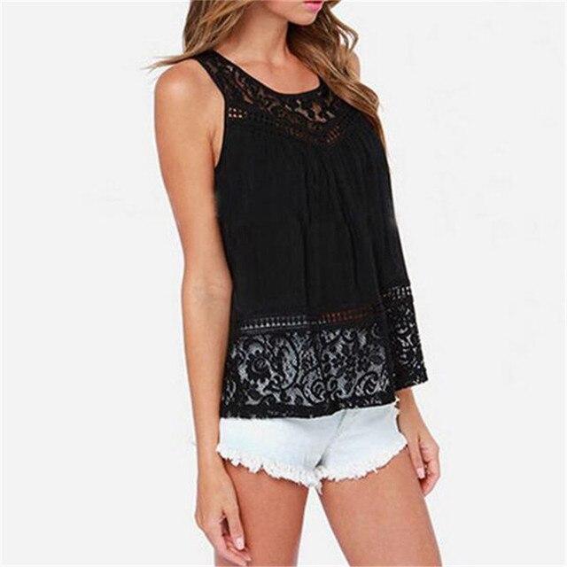 Summer Women's Shirts Blouses 2017 Sleeveless Casual Chiffon White Black Hollow Out Tops Shirts Solid -neck blusa feminina