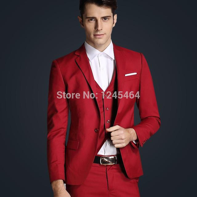Chaqueta + chaleco + pant envío libre 2015 nueva llegada de moda casual de negocios de los trajes slim fit hombres traje trajes de boda hombres rojo azul
