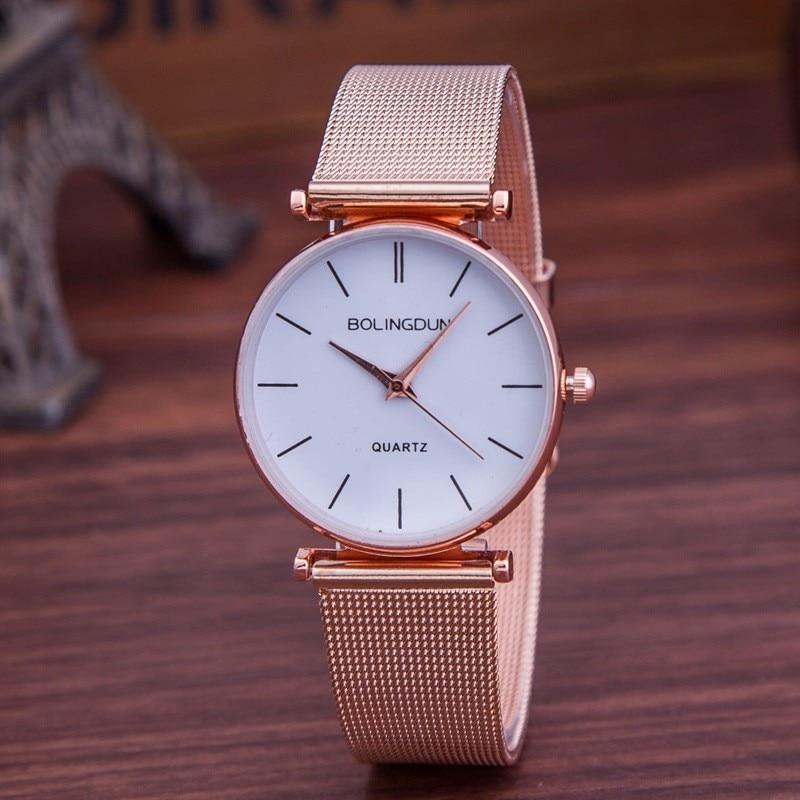 Nuevas Mujeres de Moda Rosa de Oro Reloj de Lujo Marca de Relojes de - Relojes para mujeres