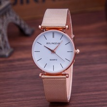 New Women Fashion Rose Gold Watch Luxury Brand Quartz Klockor Tillfälligt Metal Mesh Rostfritt Stål Klänning Armbandsur Reloj Mujer Hot