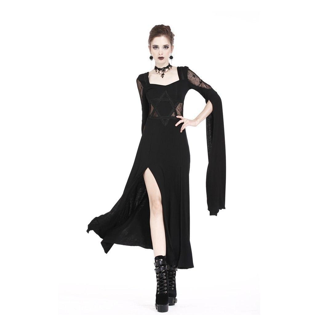 Darkinlove Femmes Goth de Haute Fente Maxi Robe DW191