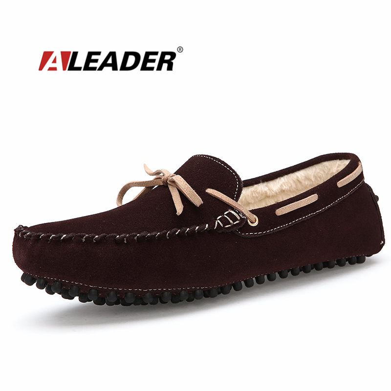 Casual Mens Loafers Suede Leather Winter Snow Shoes 2015 Fashion Men Flats Slip On Moccasins Mens Driving Shoes Zapatos homme black suede loafers for male plus size 38 47 casual mens footwear driving flats loafers suede leather flats slip on shoes mens