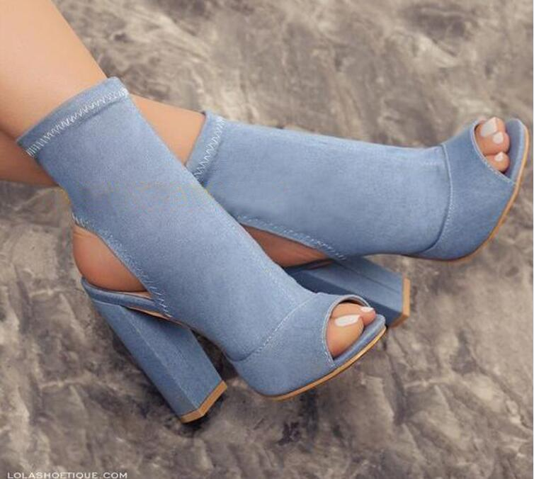 2017 Hot Selling Women Fashion Open Toe Blue Denim Thick Heel Ankle Boots Slip-on Bandage Super High Short Boots Jean Boots 2017 fall winter blue denim short sandal boots front back lace up open toe ankle boots brown black high heel high top sandals