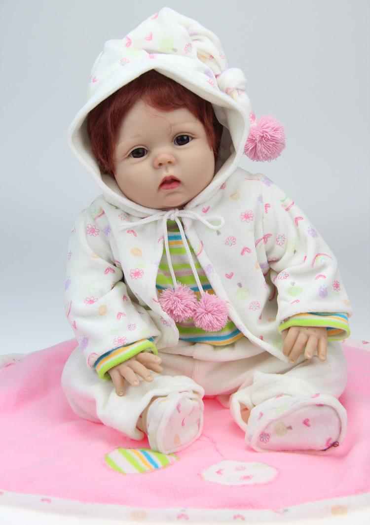 55cm Soft Silicone Reborn Baby Dolls Handmade Reborn Baby Pacifier Lifelike Realistic Dolls Red Hair for