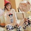 Образы мультфильма Микки Маус зима с длинными рукавами фланель материнства пижамы беременна материнской лактации одежды костюм