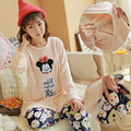 Cartoon images Mickey Mouse winter  long sleeved maternity flannel pajamas pregnant maternal lactation clothes suit