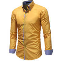 Otoño Casual camisas para hombre manga larga Formal ajustado Botón-abajo camisa de manga larga superior Y724 #30
