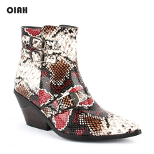 OIAH Western Cowboy Boots Snake Print PU Leather Womens Ankle Wedges High Heel Winter Pointed Toe Cowgirl Botas