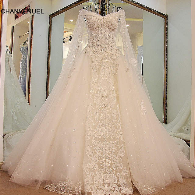 LS45880 queen wedding dress with long cape lace sweetheart ball gown ...
