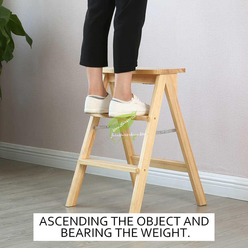 Modern Simplicity Solid Wood Foldable Step Stool Firm And Strong Bench Household Kitchen High Step Stool Bearing 100kg Stools Ottomans Aliexpress