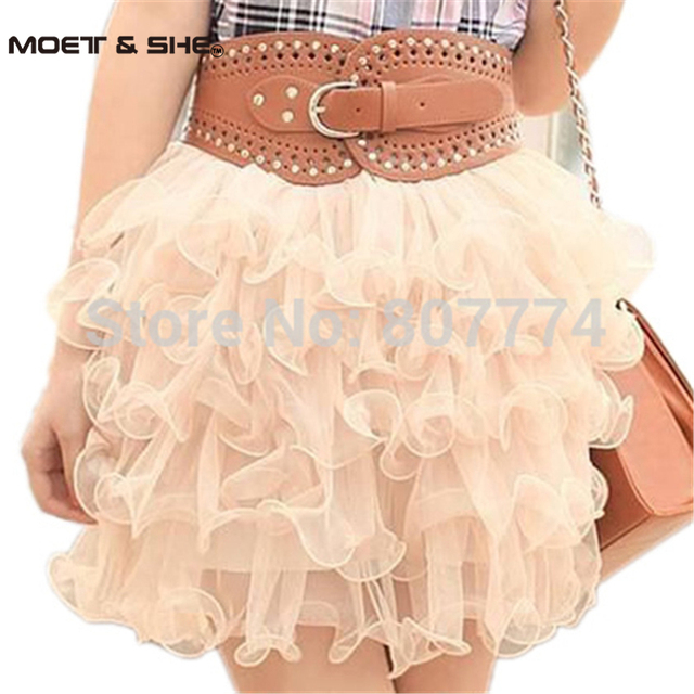 Clearance!!  New Summer Lovely Mini Lace Puffy Women/Girl Short Tulle Ball SKirts Saias Feminina 6 Colors #2009