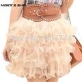 Freeshipping + al por mayor nuevo verano lovely mini lace puffy mujeres/de la muchacha corta de bola de tulle faldas saias feminina 6 colores #2009