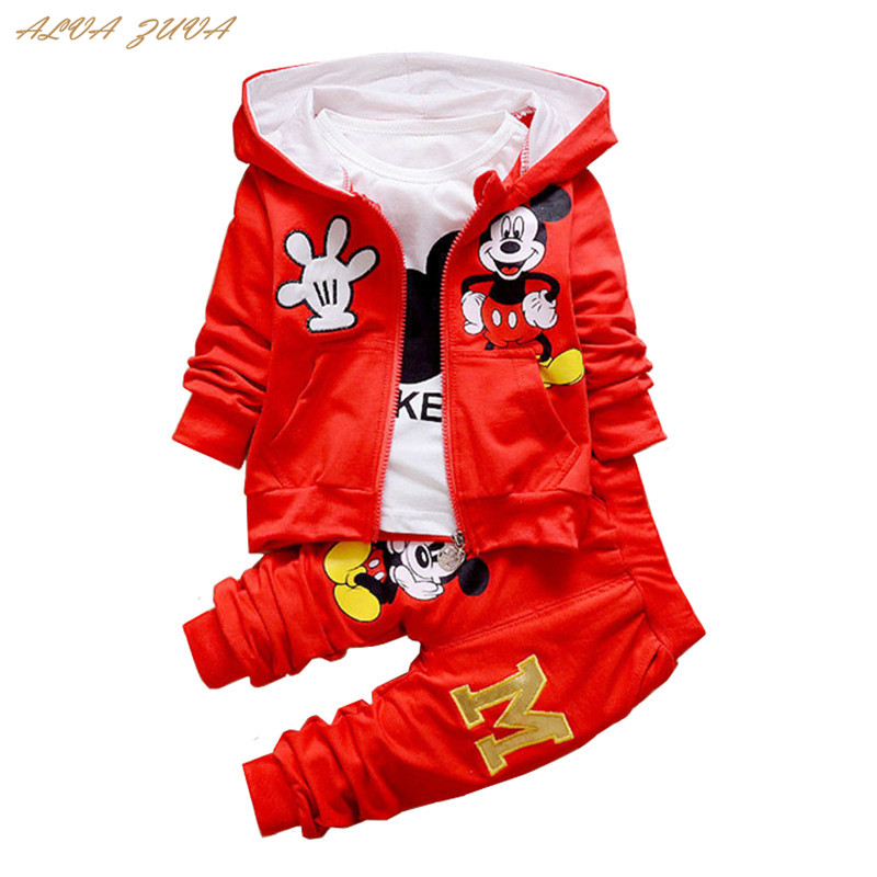 Spring/Autumn Children Clothing Sets Cartoon Mickey Toddler Baby Boys Girls Coat+T-Shirts+Pants 3 Pcs/Suit Bebes Clothes Cyy266 3 pcs girls clothes set autumn children clothing 2017 toddler girl clothing sets roupas infantis menino vest t shirts pants