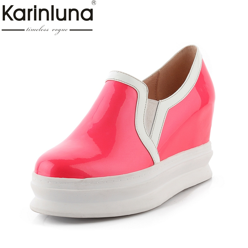 Karinluna 2018 New Top Quality Dropship Genuine Leather Shoes Women Fashion Cow Leather Casual Shoes Loafers Flats top brand high quality genuine leather casual men shoes cow suede comfortable loafers soft breathable shoes men flats warm