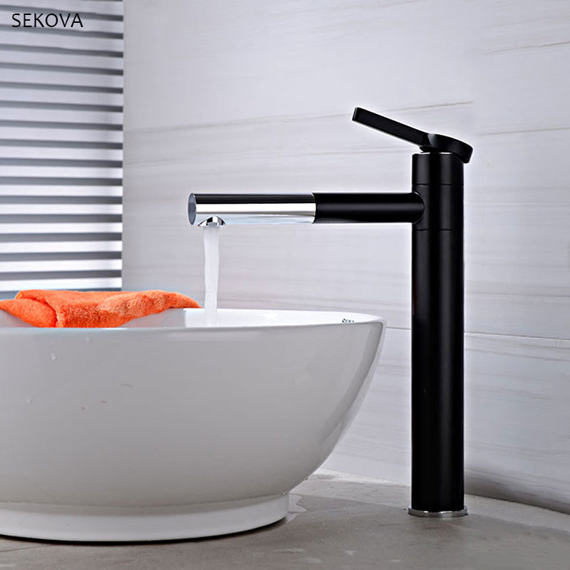 Matte Black+Chrome Quality Brass Washbasin Faucet Double Position Rotatable Tall & Short Style Bathroom Faucet Mixer Water Tap Matte Black+Chrome Quality Brass Washbasin Faucet Double Position Rotatable Tall & Short Style Bathroom Faucet Mixer Water Tap