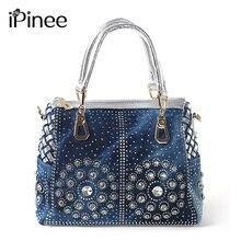IPinee Casual bayanlar Tote çanta tasarımcısı kristal elmas kadınlar postacı çantası ünlü marka lüks çanta kadın çanta