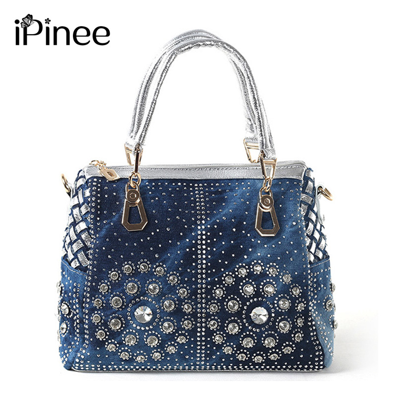 iPinee Casual Ladies Tygväskor Designer Crystal Diamond Women Messenger Väskor Känd märke Luxury Handbags Women Bags