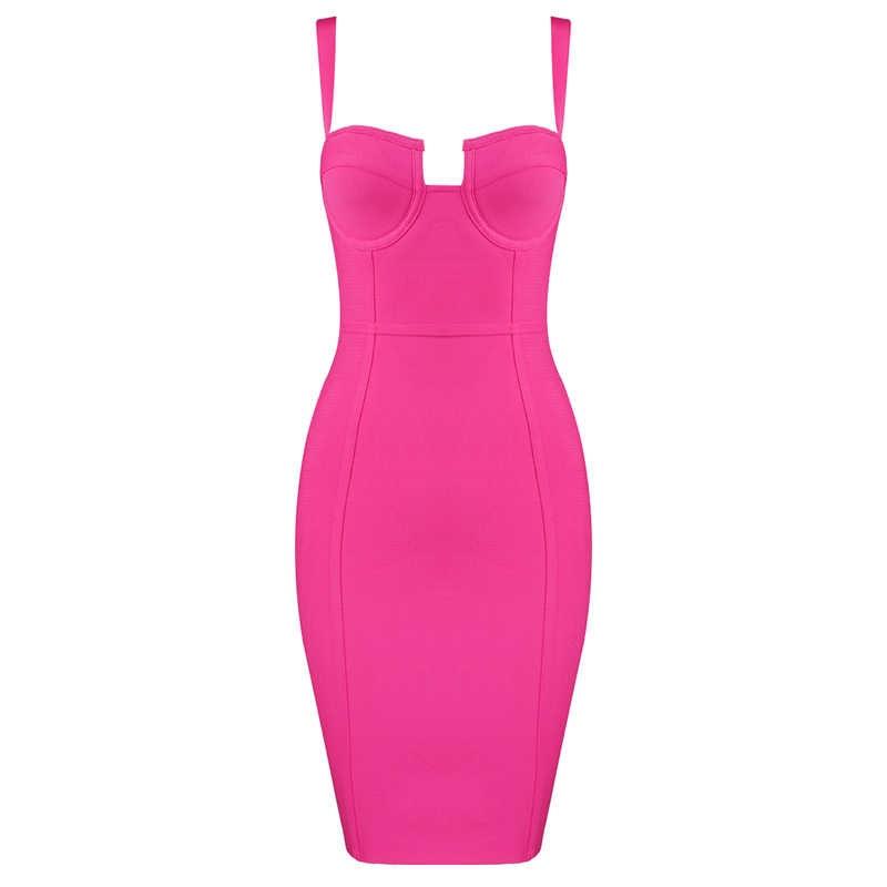Gratis Verzending Plus Size XL XXL Vrouwen Zomer Sexy Strap Blue Hot Pink Bandage Jurk 2019 Designer Fashion Party Jurk vestido