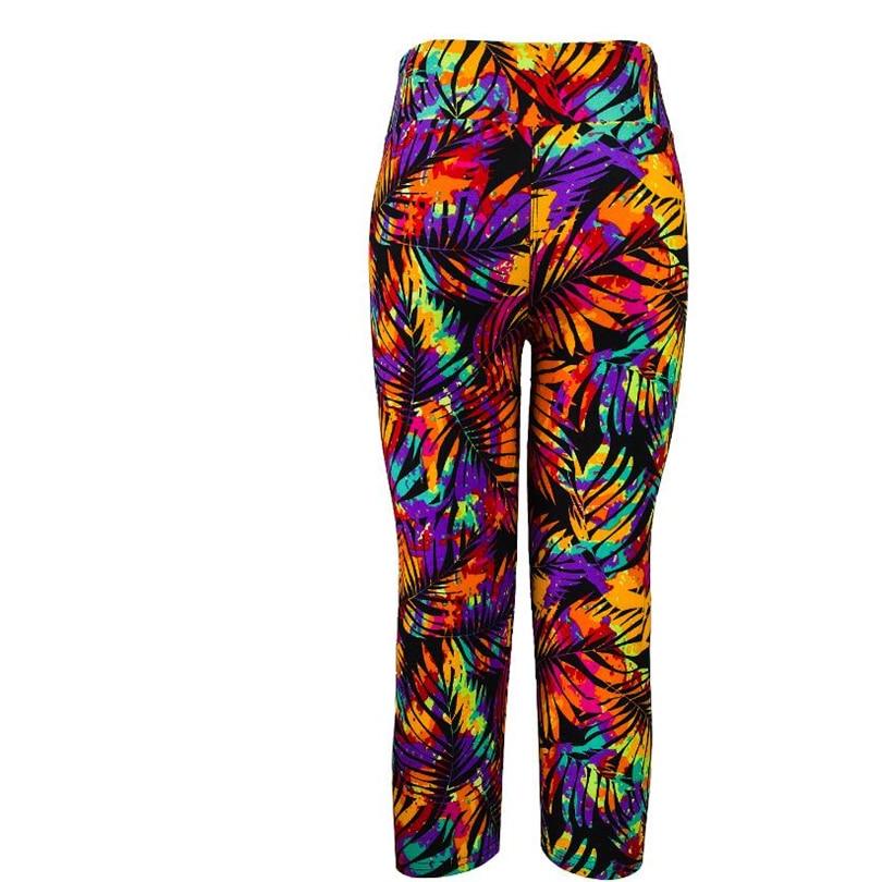 Новинка, 14 цветов, летние женские модные трикотажные хлопковые леггинсы на талии с принтом, леггинсы на талии, семь точек