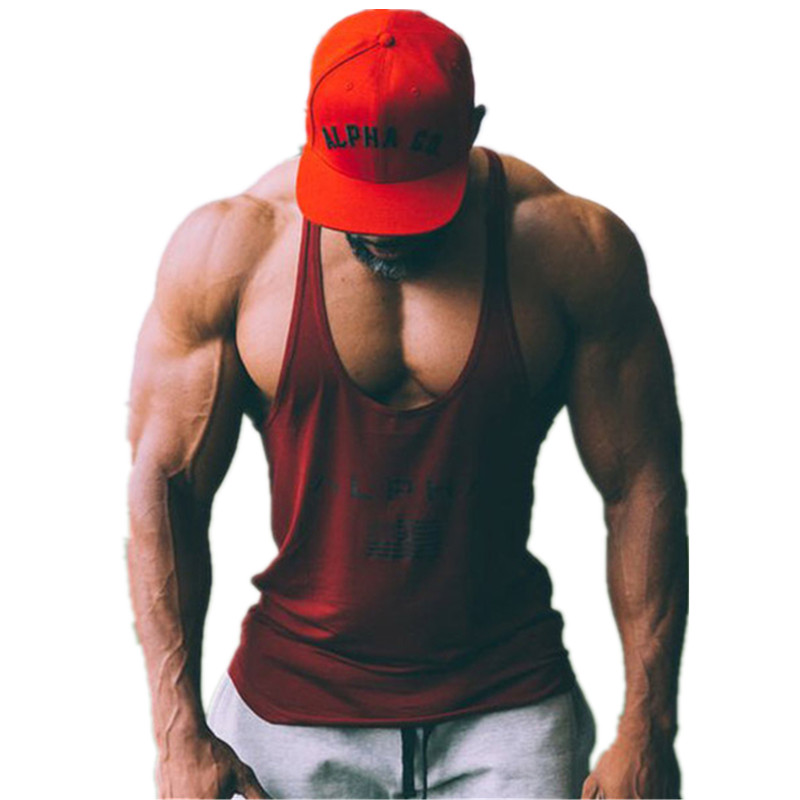 New ALPHA Brand Fitness Clothing Bodybuilding   Tank     Top   Men Stringer Singlet Cotton Sleeveless shirt Workout Man Undershirt