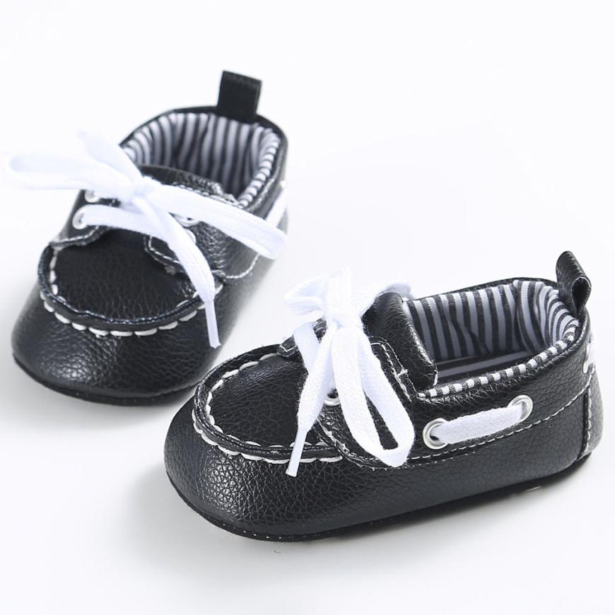Good Quality Girls Boys Lacing Leather Baby Sneaker Anti-slip Soft Sole Toddler Shoes For 0~18 Month Baby First Walkers #20