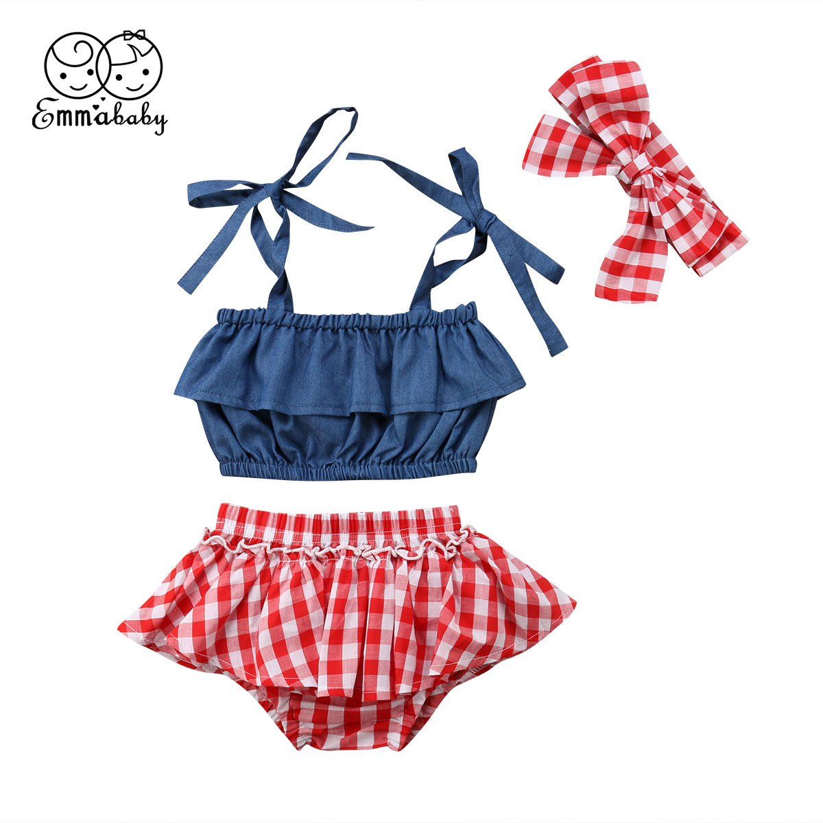 Fashion Baby Girl Outfit 3PCS Off-Shoulder Strappy Denim Top Red Plaid Shorts Girl Headband Summer Clothe Set For Kids