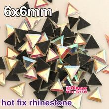 6x6mm 200 sztuk tri-kąt kształt стразы DMC Hot Fix Rhinestone kryształ AB żelazko na poprawka Rhinestone Motif transferu wzory Y3269