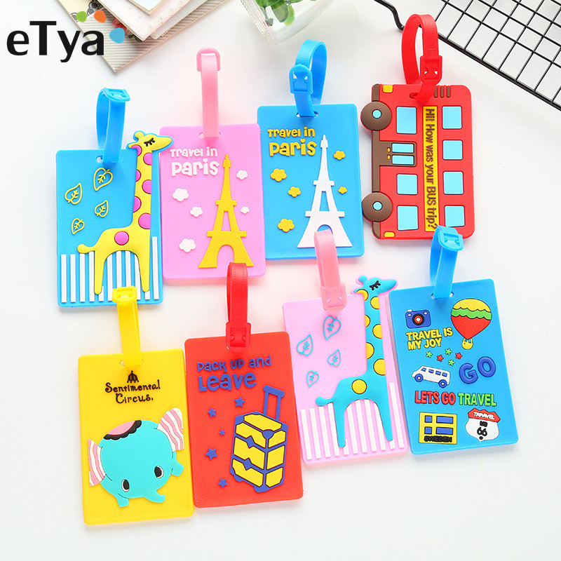 ETya Cartoon Cute Luggage Tag Silicone Women Men Travel Suitcase Tag Name Addres Holder Baggage Boarding Label Tag