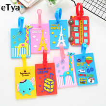 eTya Cartoon Cute Luggage Tag Silicone Women Men Travel Suitcase Tag Name Addres Holder Baggage Boarding Label Tag(China)