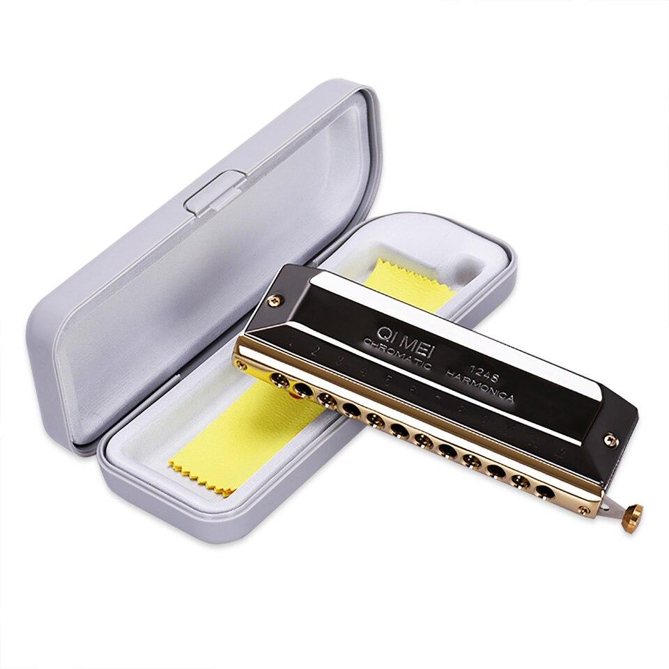 QIMEI 12 Trous Harmonica chromatique 48 Ton Harpe Instrumentos Harmonicas à Bouche Harmonica Blues Instruments de Musique EastTop 1248