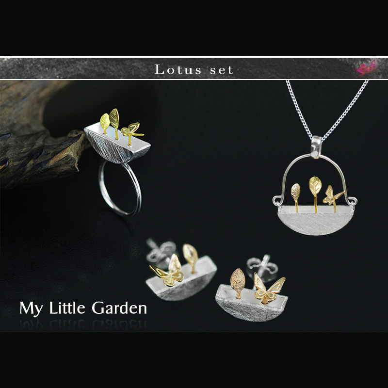 Lotus Fun Real 925 Sterling Silver Handmade Fine Jewelry My Little Garden Jewelry Set with Ring Stud Earring Pendant Necklace цена