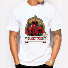 New 2016 Funny Deadpool With Tacos Print T Shirt Short Sleeve Casual Tees Hipster T-shirt Men Fashion O-neck Tshirt